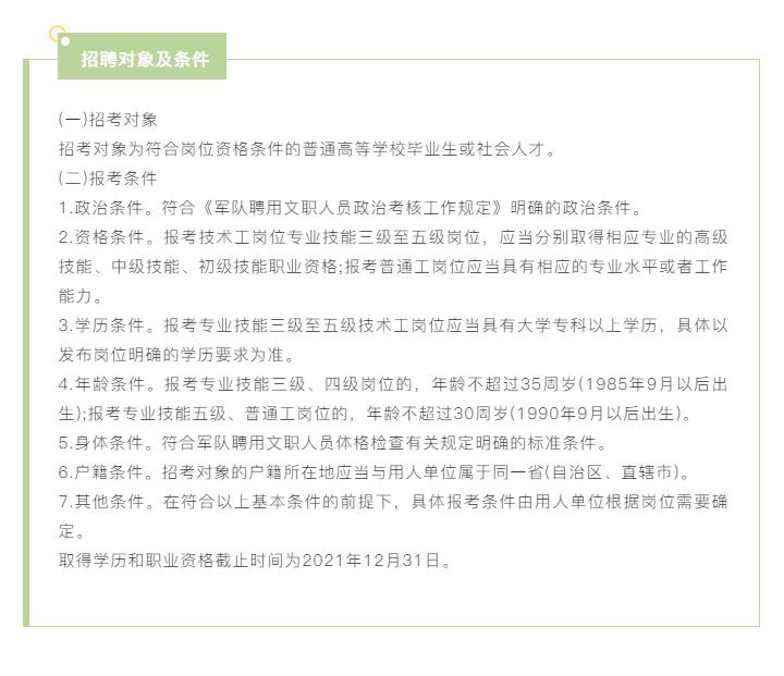 福建军事科学院专业技能岗位文职人员招聘公告